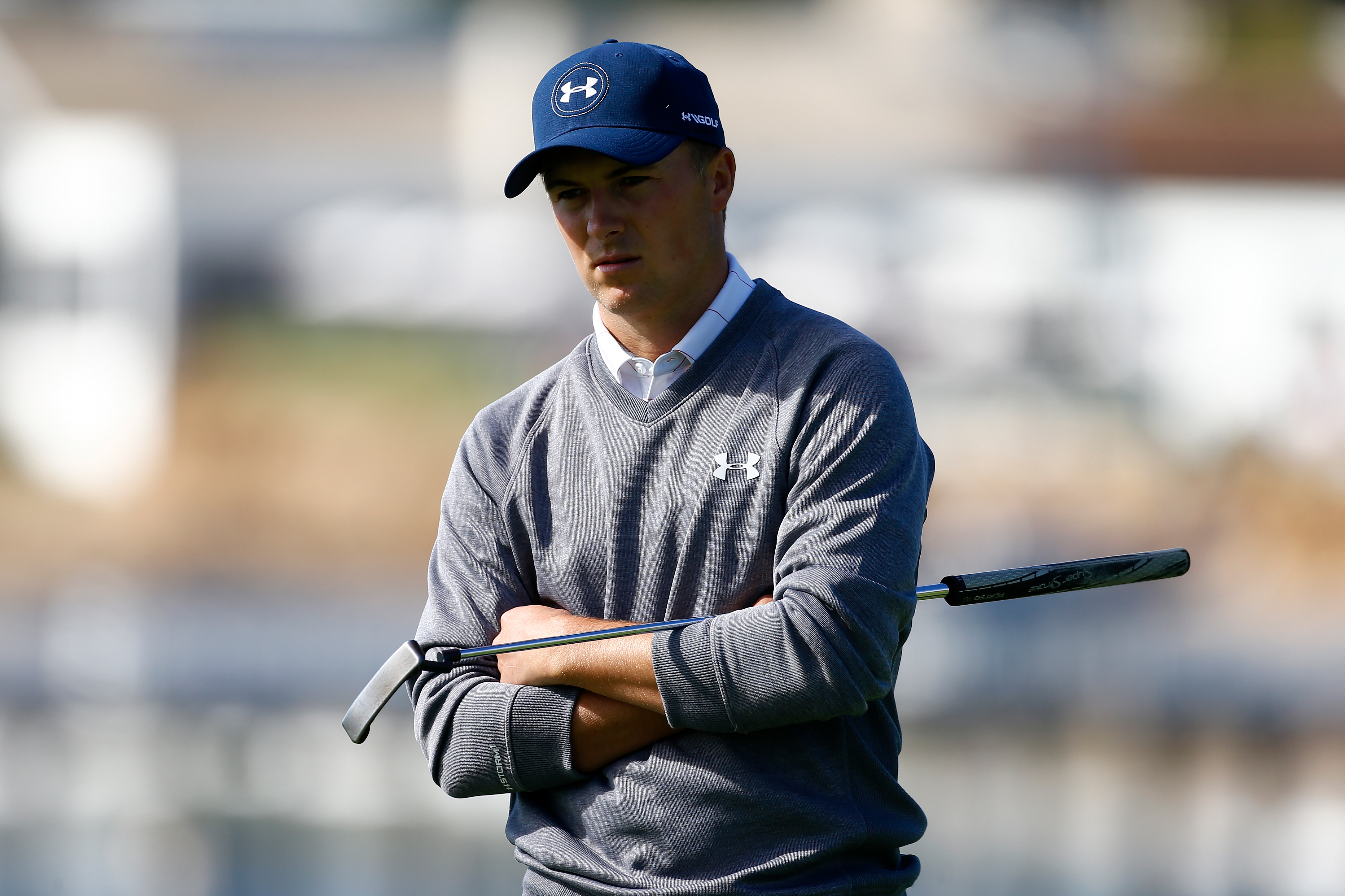 Jordan Spieth carried a six-shot lead into Sunday's final round at Pebble Beach.