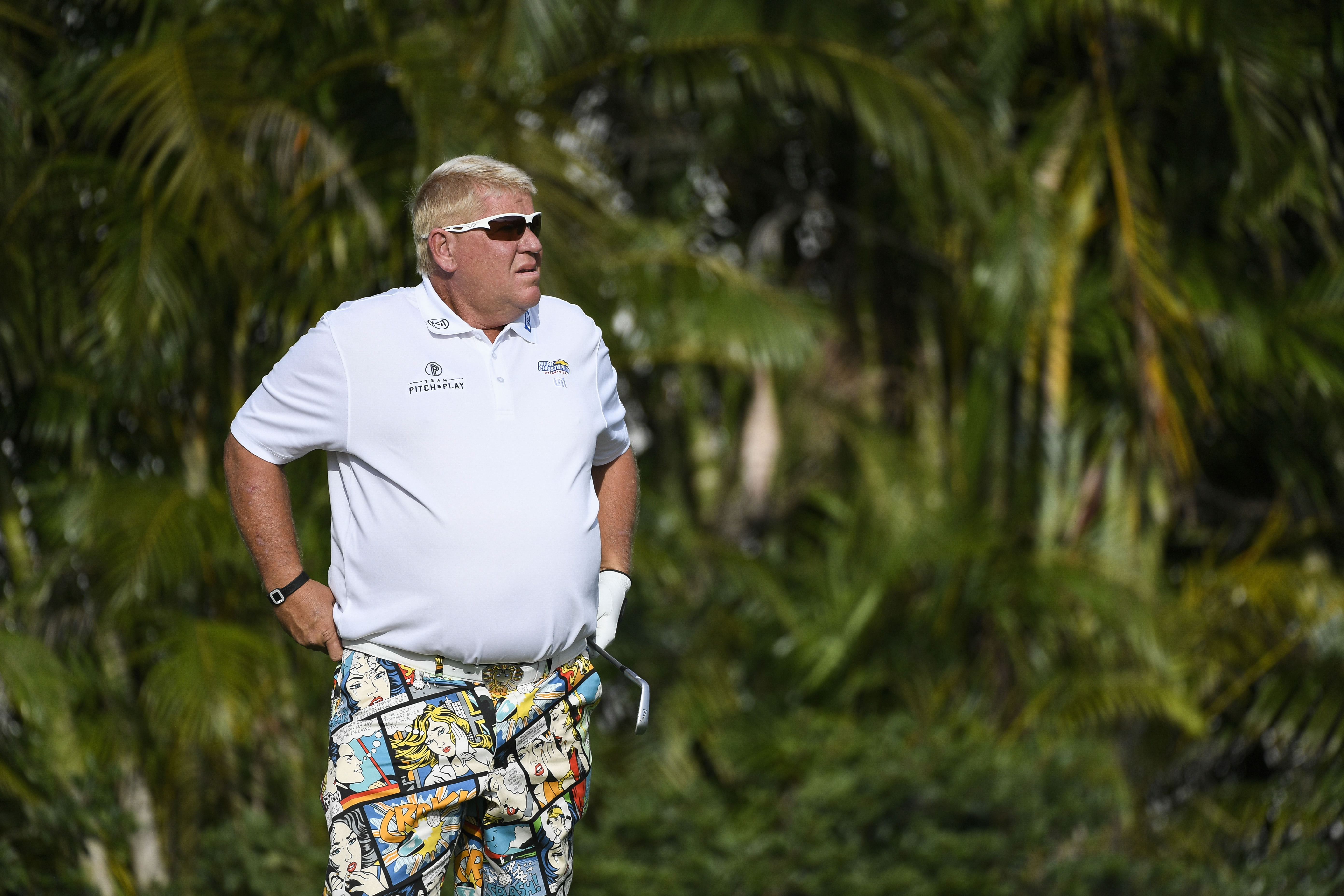 John Daly tees off on the third hole during the final round of the PGA TOUR Champions Allianz Championship at The Old Course at Broken Sound.