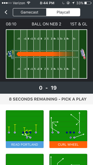 The Screaming Eagles app's play-calling interface.