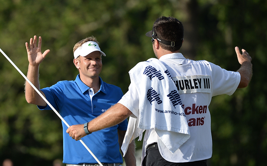 Billy Hurley III celebrates after winning the 2016 Quicken Loans National at Congressional.