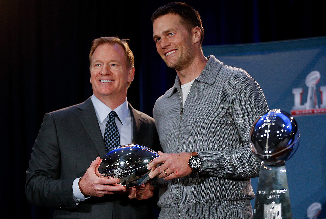 Tom Brady and Roger Goodell wore matching smiles at the MVP ceremony the morning after Super Bowl 51.