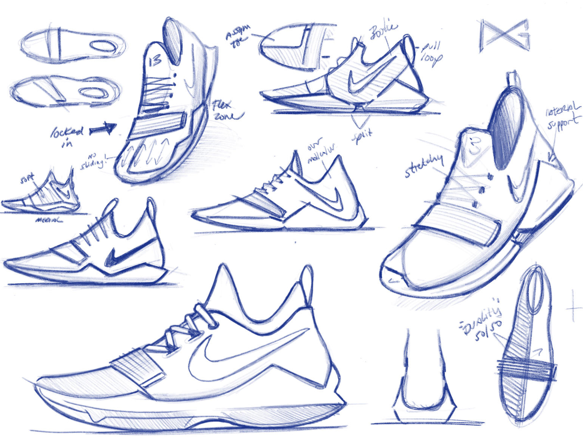 nike shoes drawing. behind the design: inside making of paul george\u0027s signature shoe nike shoes drawing