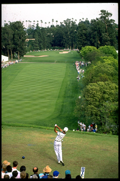 Where it all started: Tiger Woods hits his first tee shot in a PGA Tour event at the first hole of Riviera Country Club at the 1992 Los Angeles Open.