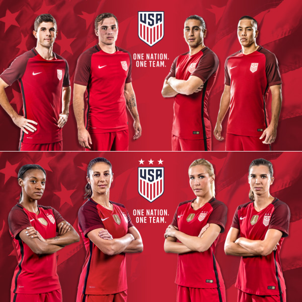 USMNT, USWNT will wear all-red uniforms in 2017
