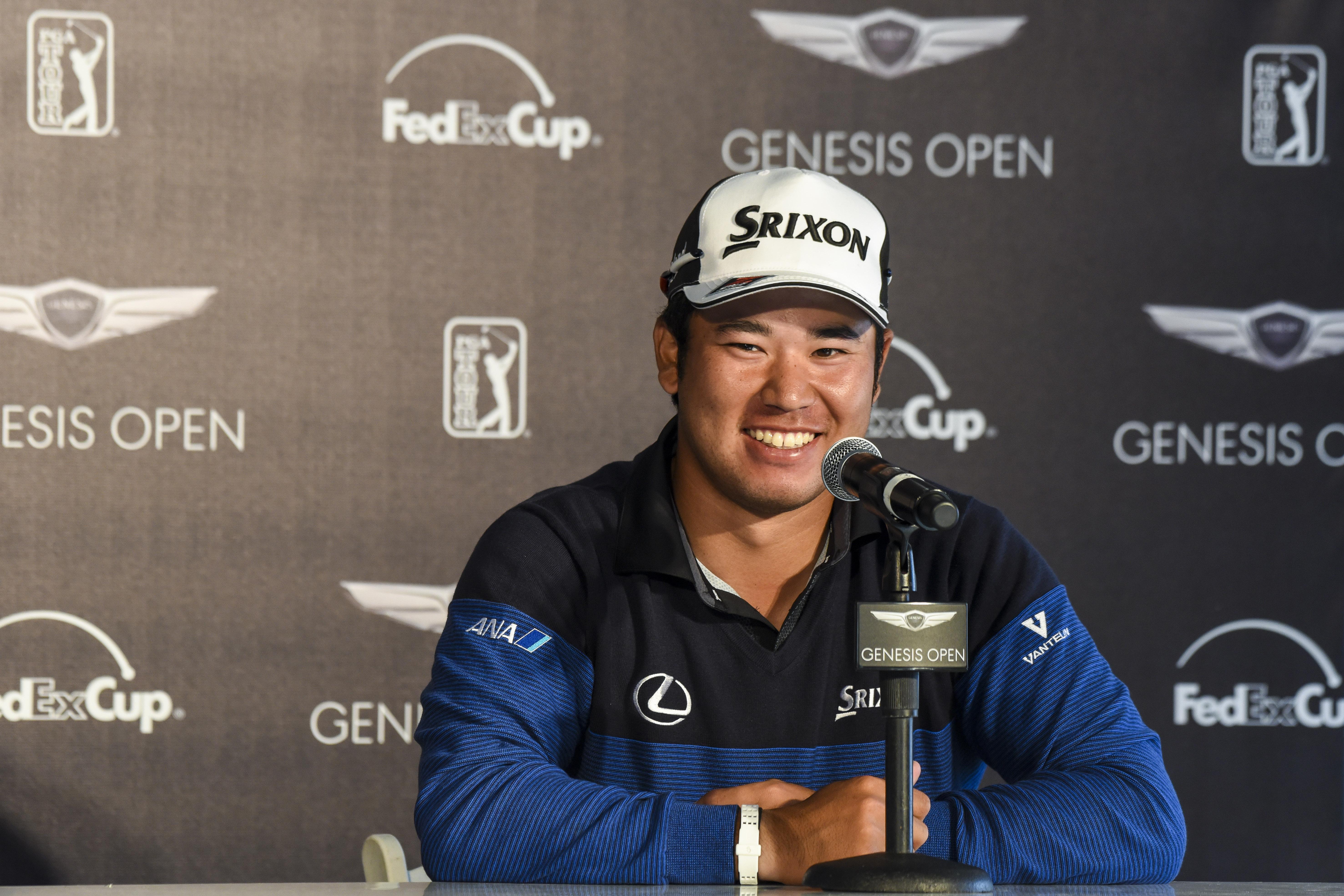 Hideki Matsuyama speaks to the media Tuesday at Riviera.