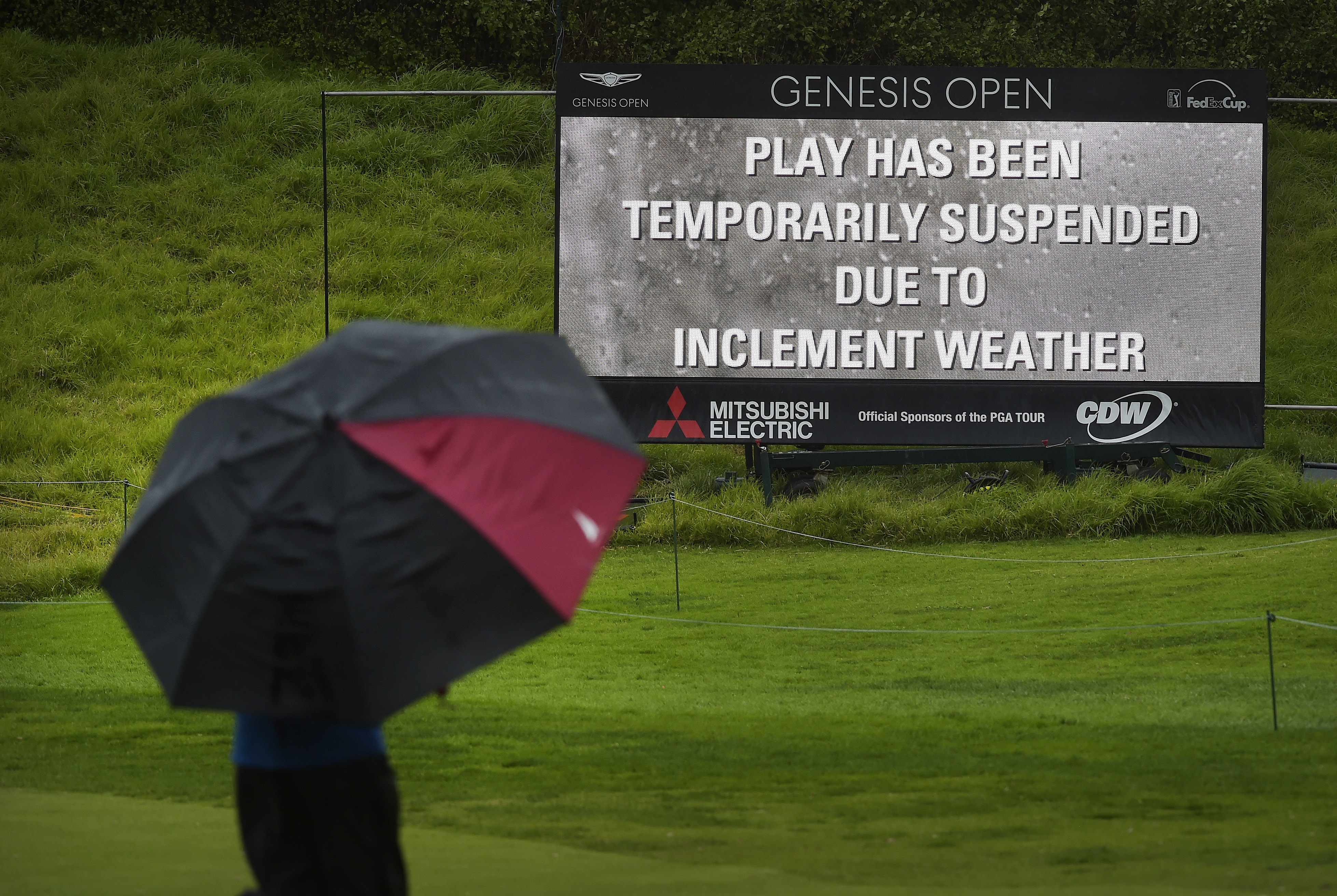 Play was suspended at the Genesis Open on Friday due to severe weather.