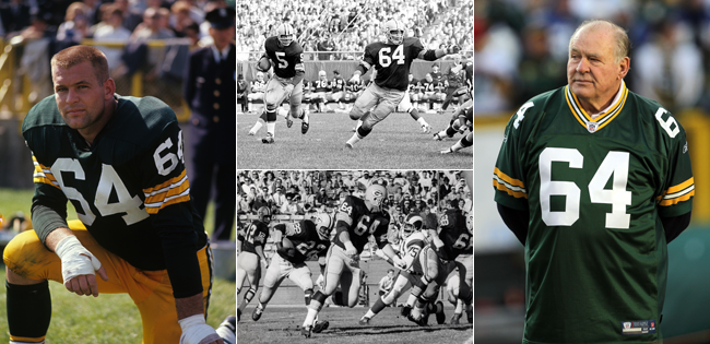 Far left: Kramer on the sideline in 1963. Middle: Setting lead blocks in the 1960s. Far right: Back at Lambeau Field for a playoff game in 2012.