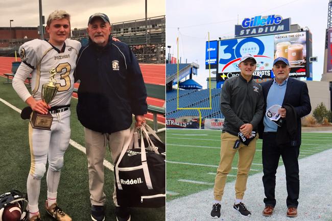 Foxborough High quarterback Mark Clagg and his coach Jack Martinelli.
