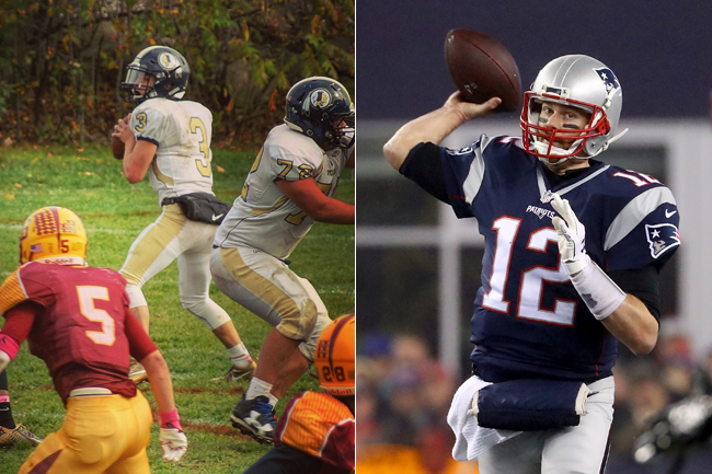 Foxborough High quarterback Mark Clagg (l.) idolizes Patriots QB Tom Brady.