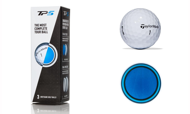 TaylorMade TP5 golf balls.