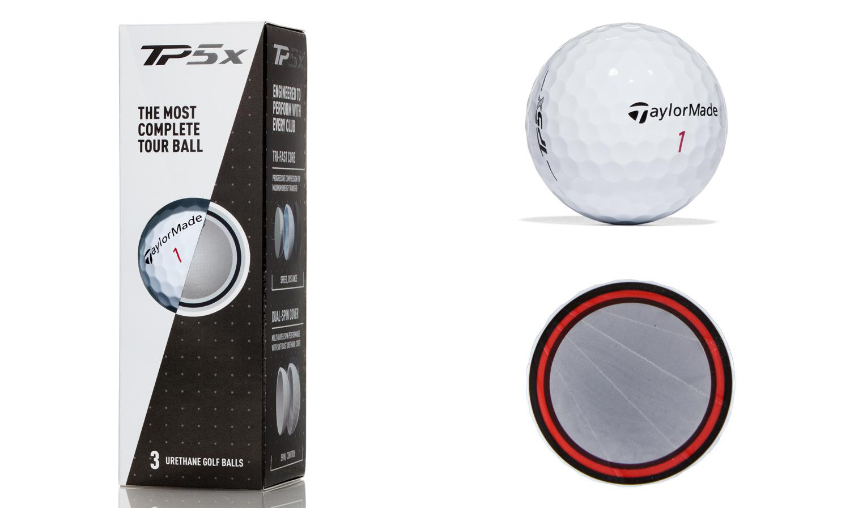 TaylorMade TP5x golf balls.