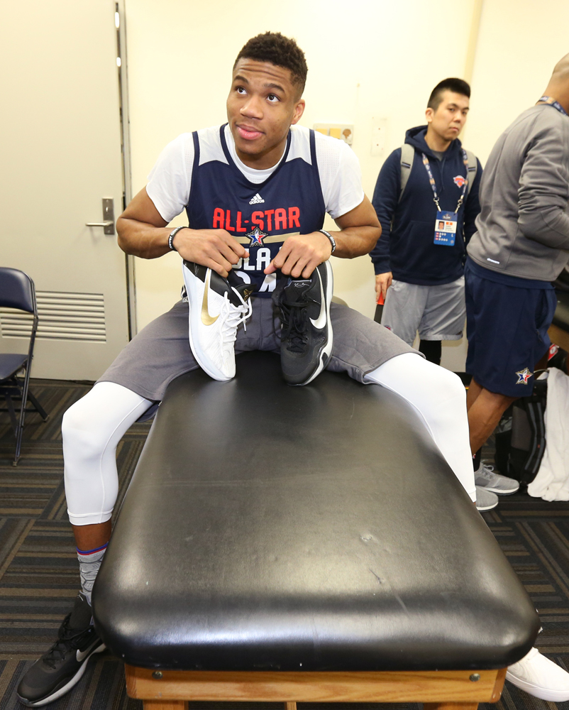 Worn by Giannis Antetokounmpo at NBA All-Star practice