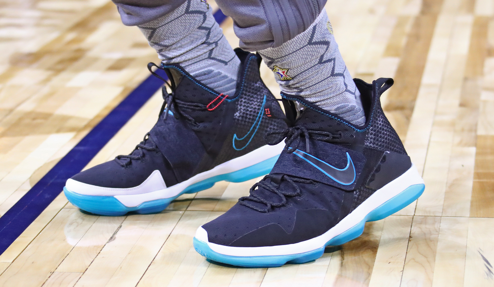 Worn by LeBron James at NBA All-Star practice