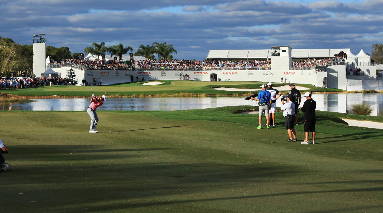 Adam Scott approaches the 16th hole at PGA National's Champion Course.