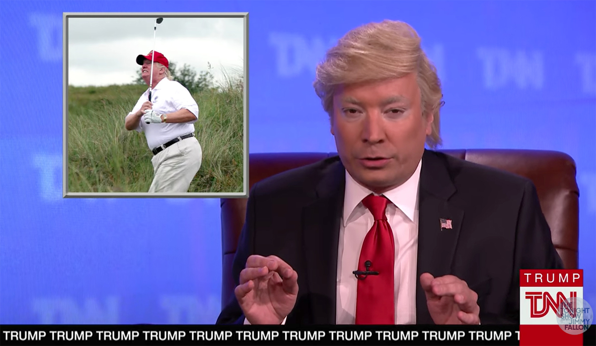 Jimmy Fallon and other late night TV hosts have had fun with President Donald Trump's golf game.