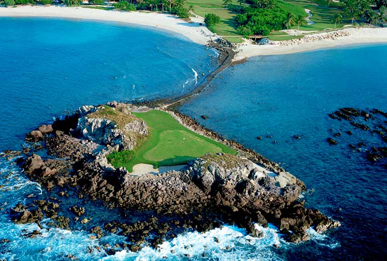 "The ""Tail of the Whale,"" a par-3 hole on Jack Nicklaus' Pacifico course, which has the largest natural island green in the world."