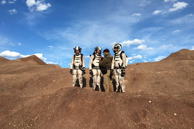 Bledsoe was in New Mexico shooting a TV show about a human colony on Mars.