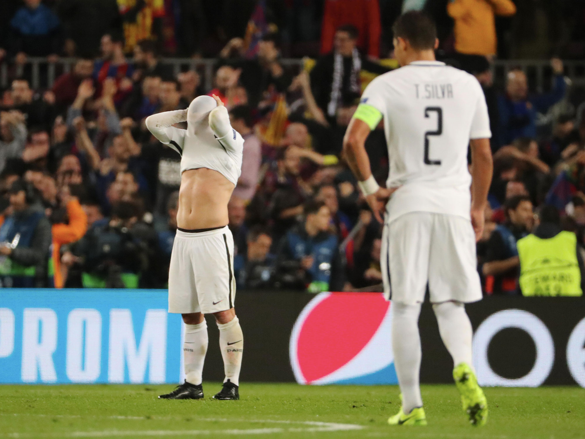 PSG players react to a stunning Champions League defeat at Barcelona