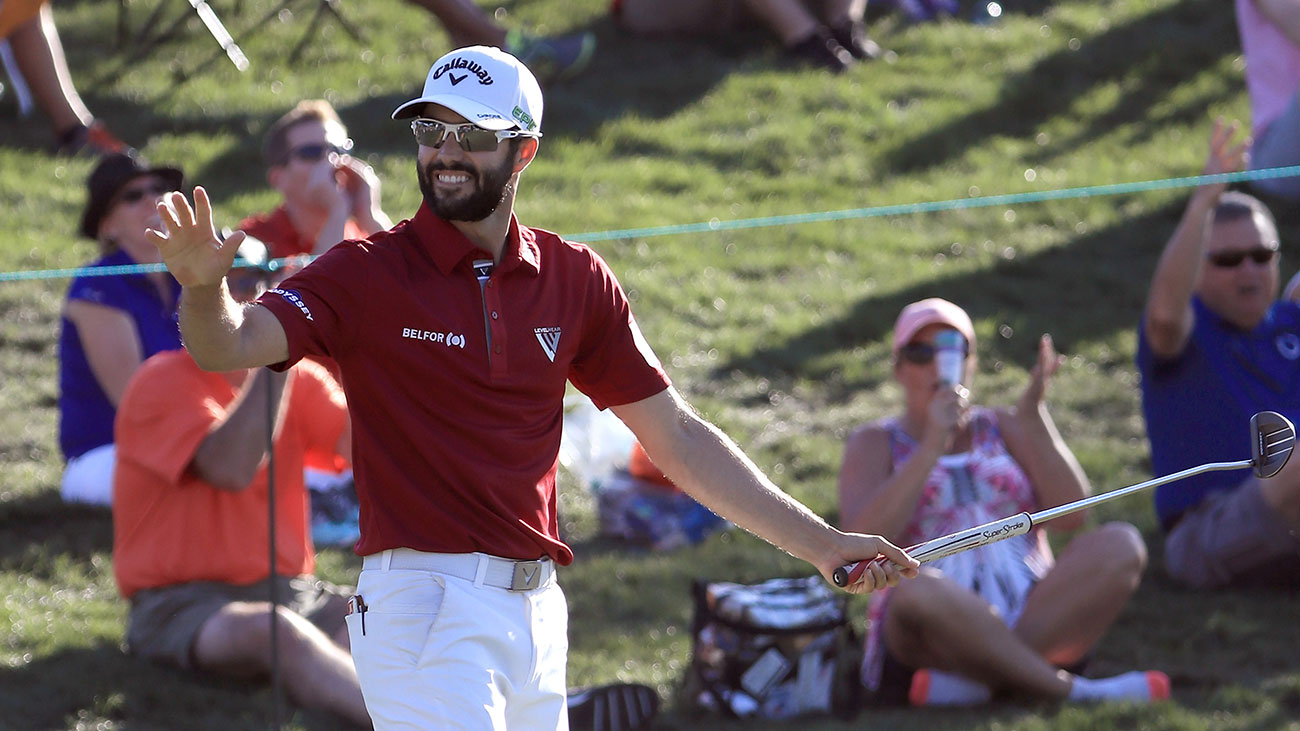 Adam Hadwin of Canada reacts after a birdie on the 15th green during the third round of the Valspar Championship.