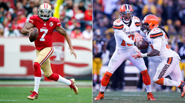 Quarterbacks Colin Kaepernick (l.) and Robert Griffin III are free agents in need of team who will embrace their unique styles.