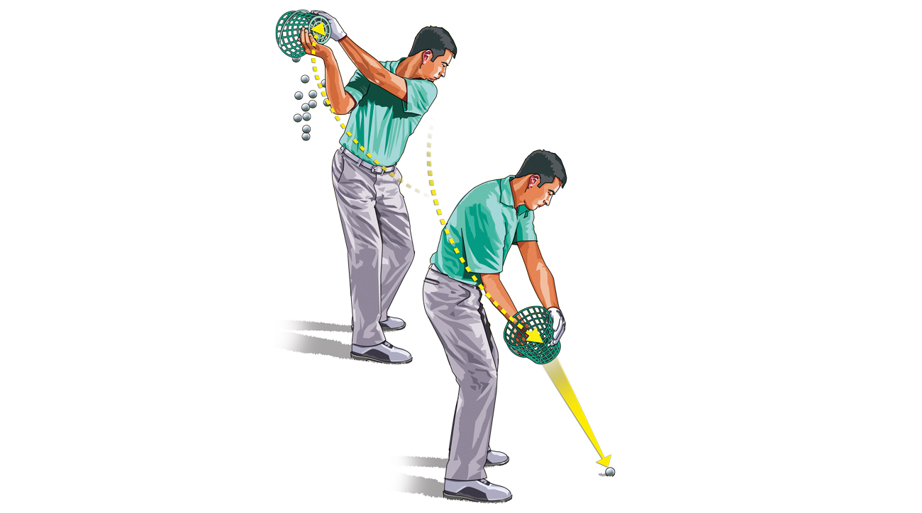 Gradually move through the backswing down to impact with the bucket in your hands.