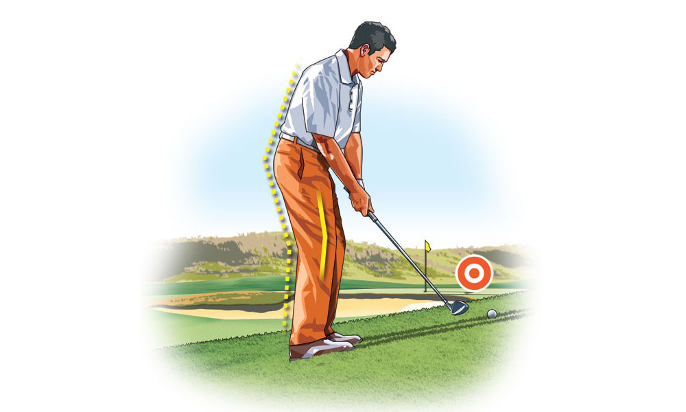 To avoid fat or pulled shots, stand taller at address, which helps adjust for the slope.