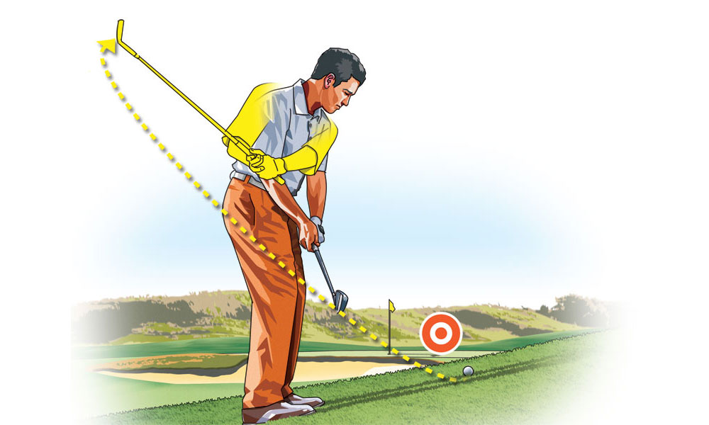 The slope makes your swing plane flatter, so don't fight it. To stay balanced, keep your chest over the ball throughout the swing.