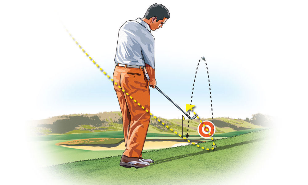 In your downswing, swing to the left of the target—this brings the club's sole into impact as though you were hitting from a flat lie.