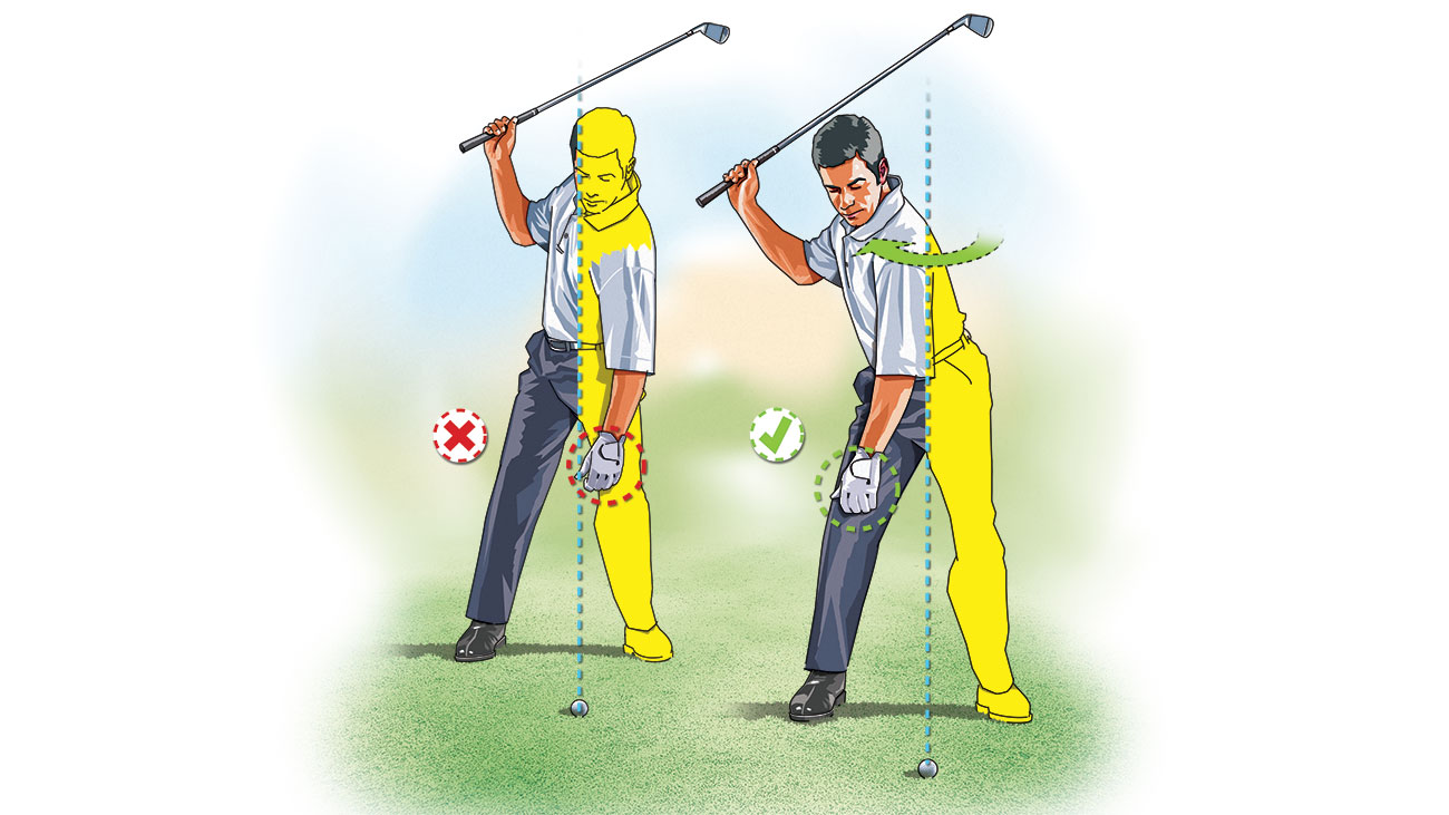 """To avoid slipping into a """"Reverse C"""" position at the top of your backswing—a move that robs you of power and accuracy—make practice swings with your right arm only. At the top, check to see that your left arm hangs down over your right thigh."""