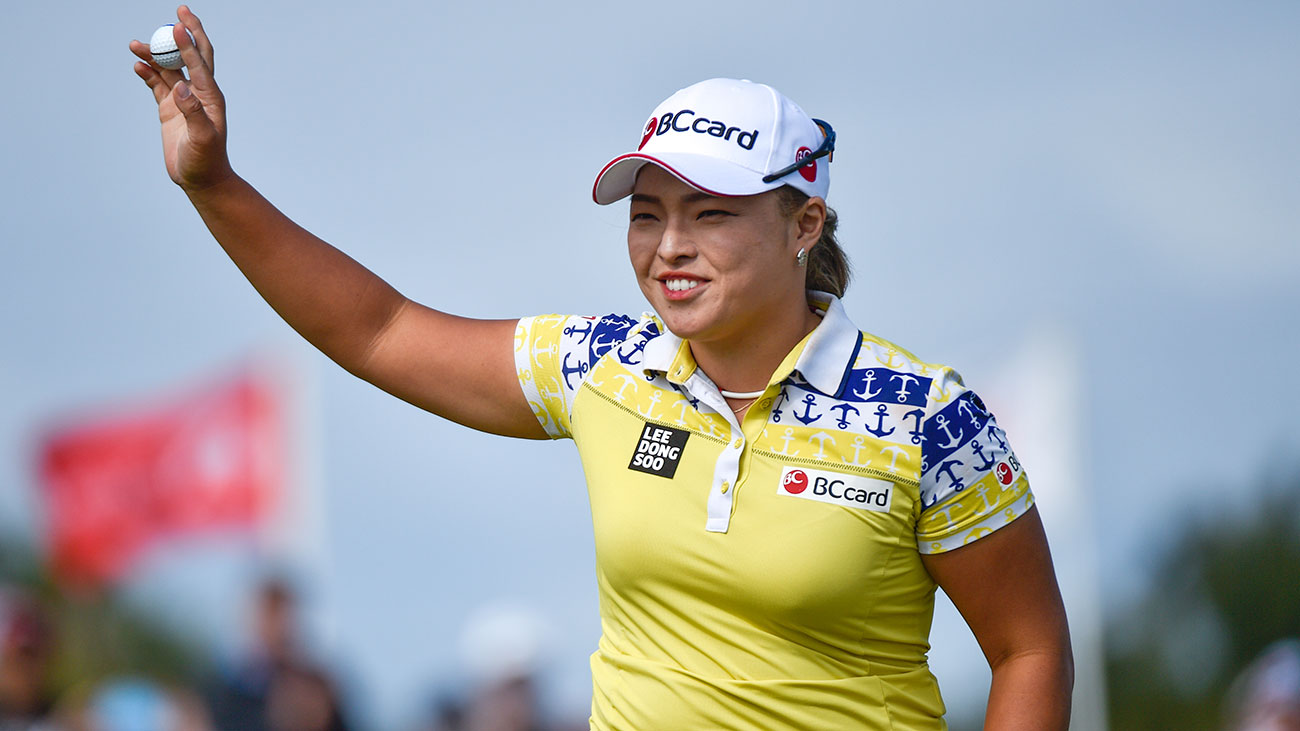 Ha Na Jang, pictured here at the ISPS Handa Women's Australian Open, won a car after acing the 17th hole at Wildfire Golf Club.