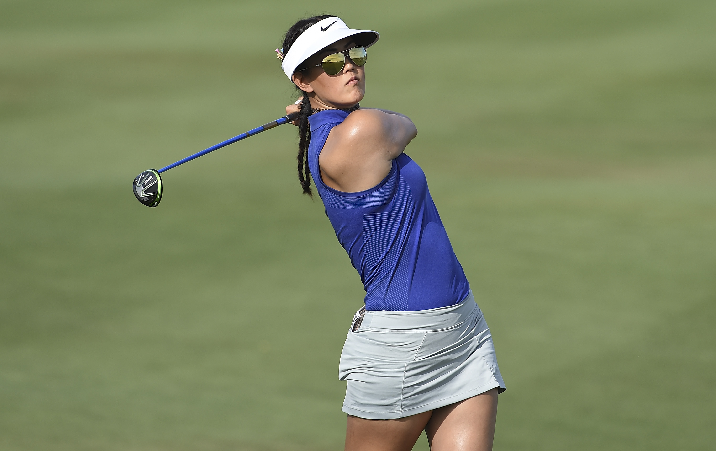 Michelle Wie hits her approach on the 15th hole during the the second round of the Bank Of Hope Founders Cup