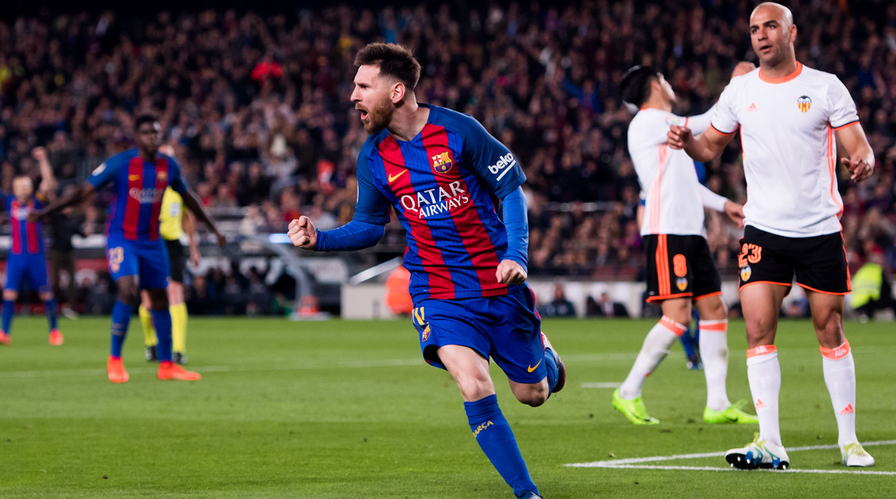 Lionel Messi scores his 40th goal in all competitions for Barcelona