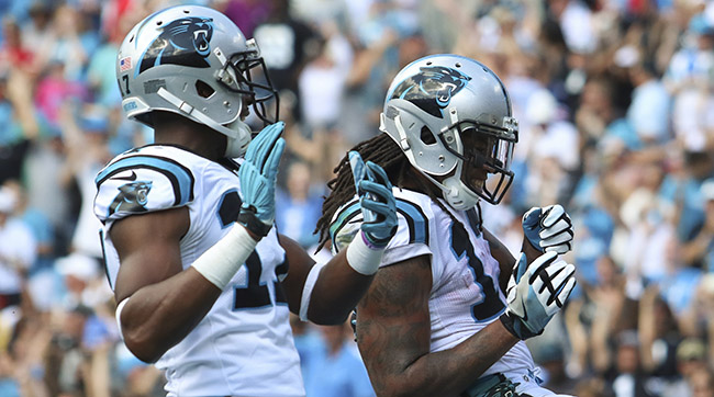 "Devin Funchess (left) is flagged for being a little too good at teammate Kelvin Benjamin's ""Pause On 'Em"" dance."