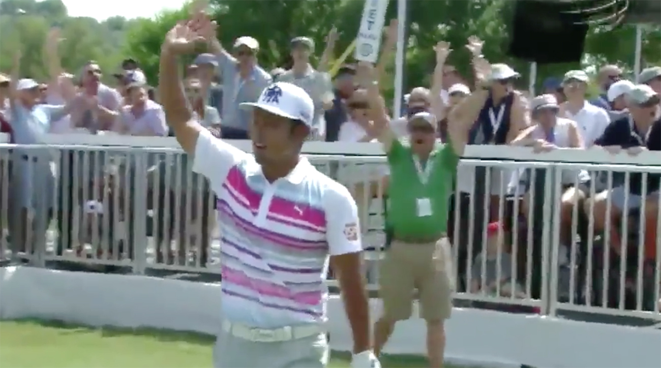 Hideto Tanihara had the shot of the tournament on Sunday.