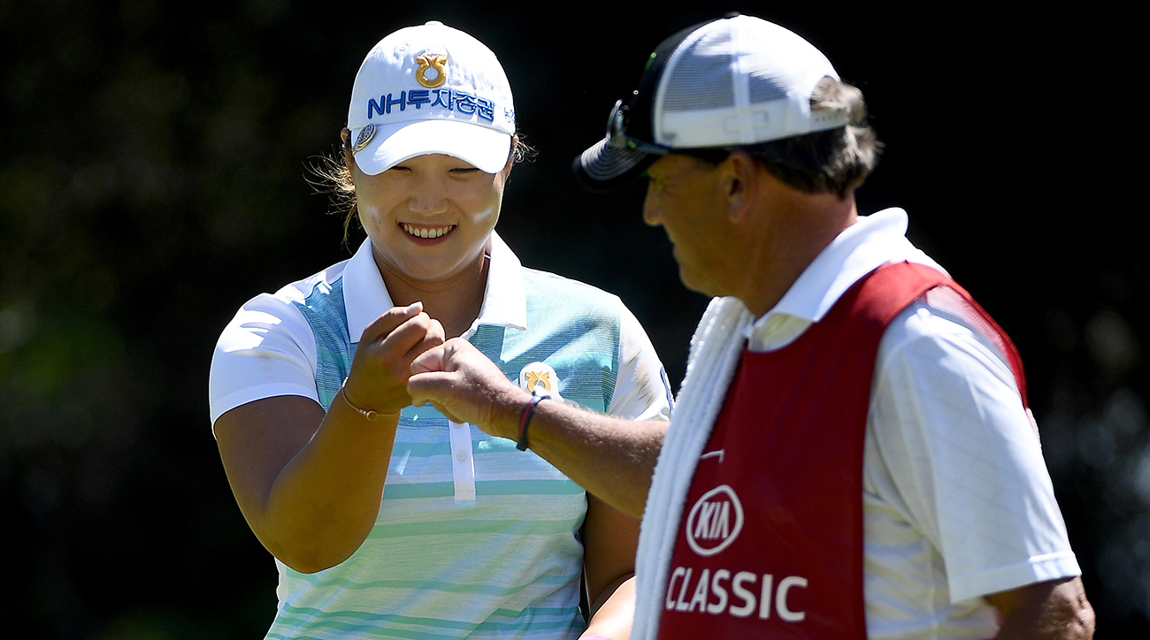 Mirim Lee celebrates a birdie on the 1st hole during the final round of the KIA Classic at the Park Hyatt Aviara Resort on March 26, 2017, in Carlsbad, Calif.