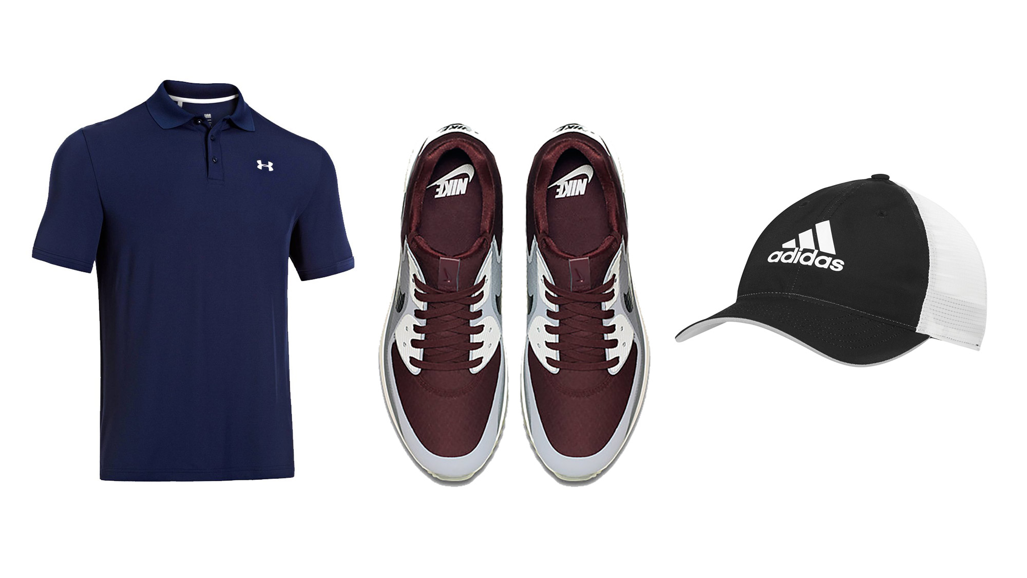 From left to right: Under Armour polo, Nike golf shoes and Adidas cap.