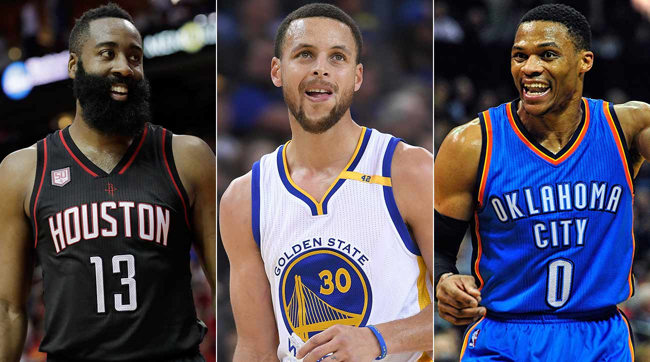 James Harden, Steph Curry and Russ Westbrook