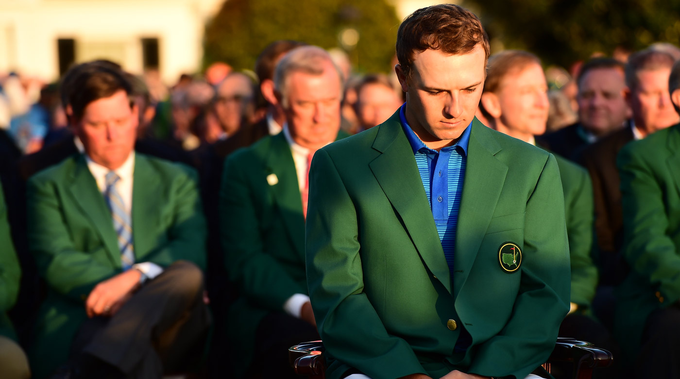 Jordan Spieth at the 2016 Masters green jacket ceremony following Danny Willett's win.