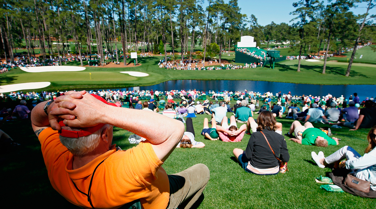 Year after year, many fans at Augusta National will return to their favorite viewing areas, like this one along the par-3 16th.