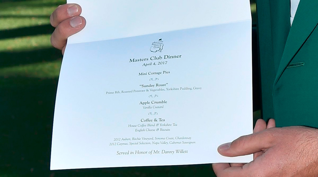 Danny Willett tweeted a photo of his Masters Champions Dinner menu.