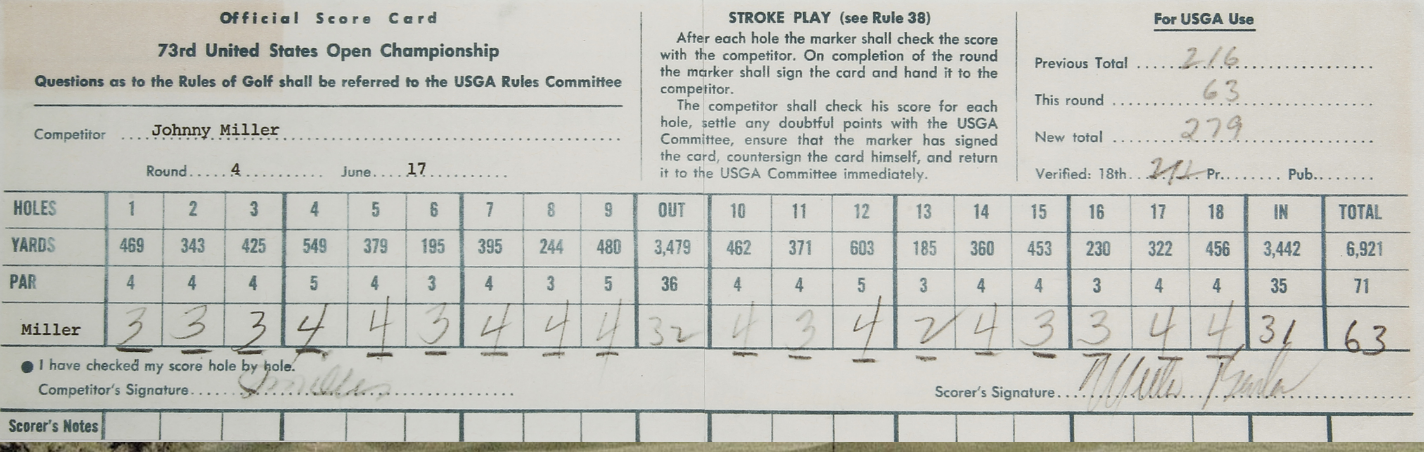 Johnny Miller's 63 scorecard at the 1973 U.S. Open at Oakmont.