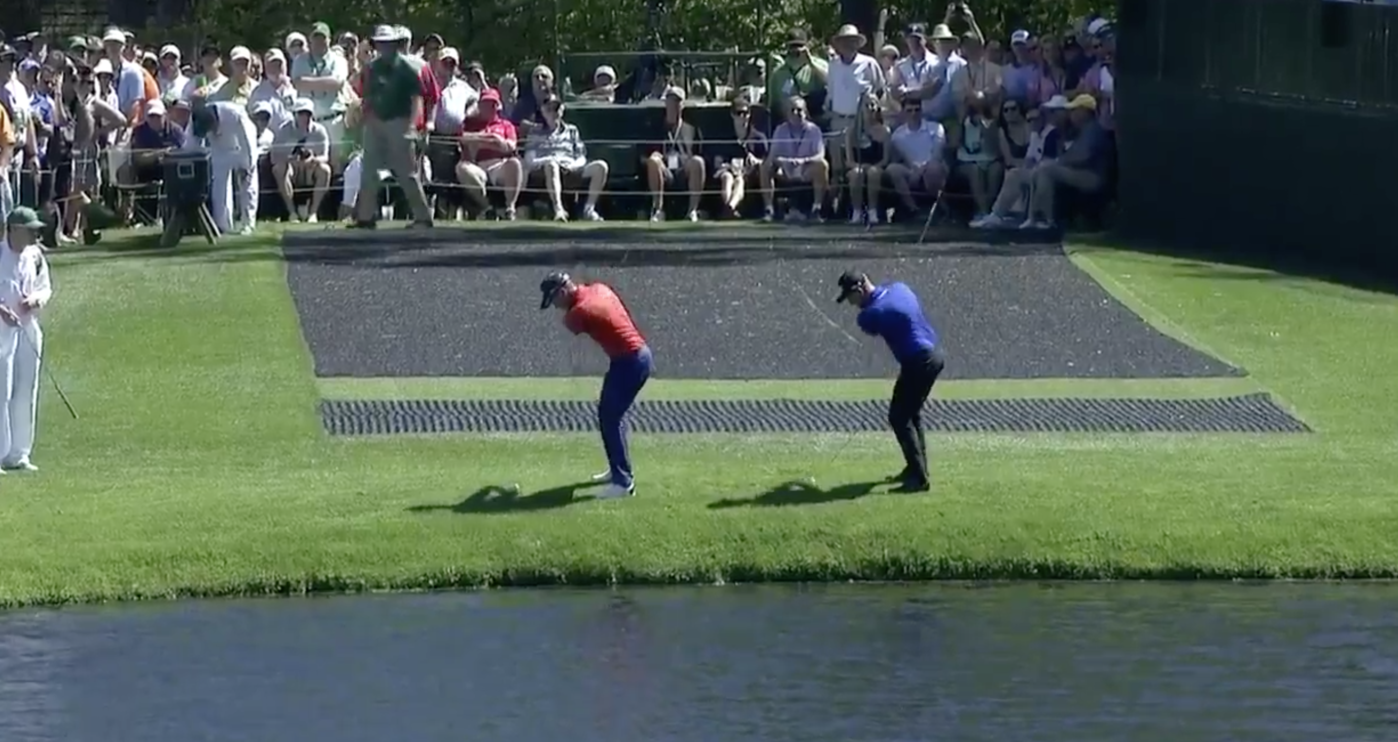 Danny Willett and Tyrell Hatton pulled off some synchronized skip-shots at the 16th Tuesday.