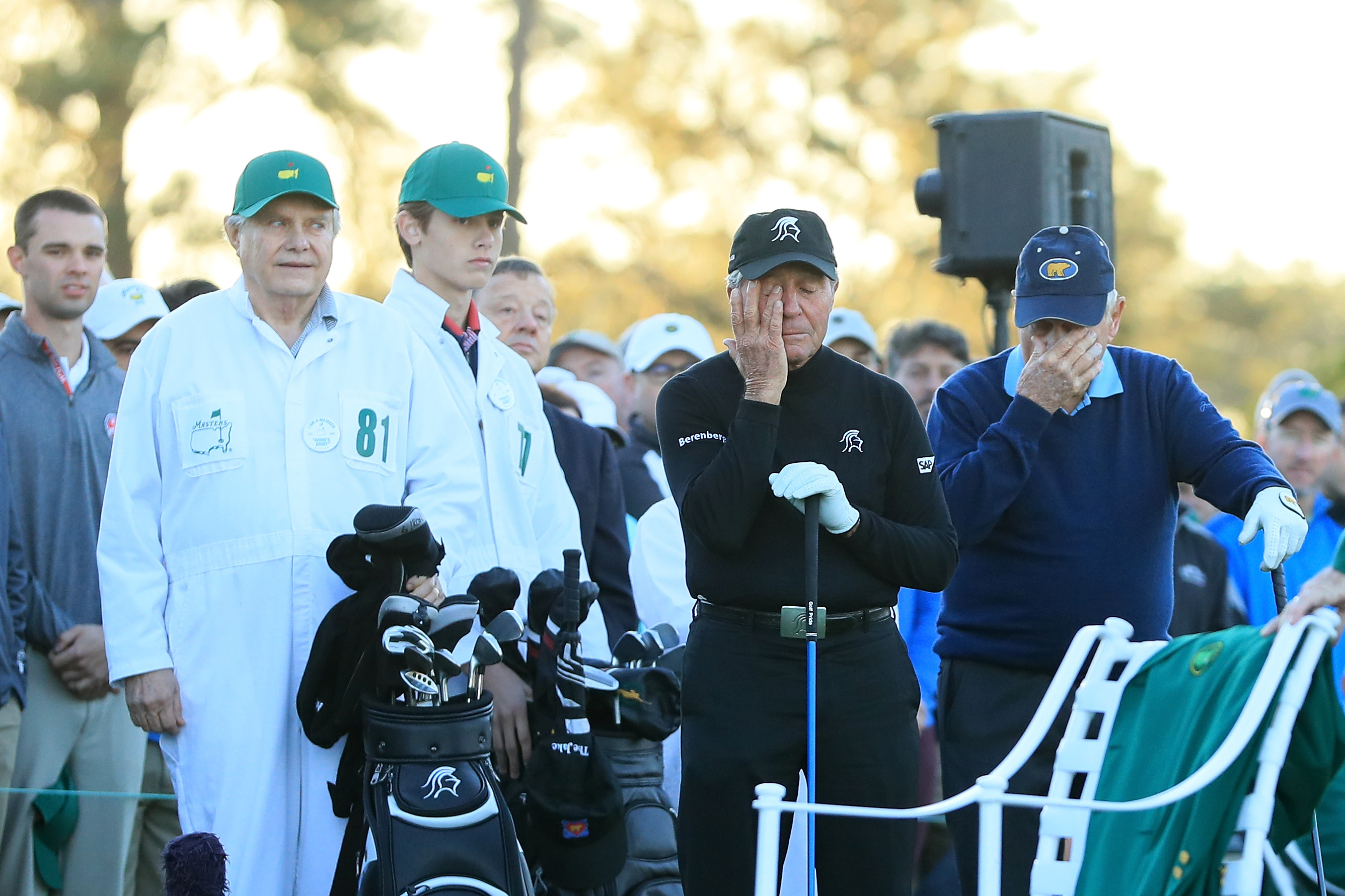 Player and Nicklaus showed plenty of emotion during the annual ceremony that kicks off the Masters.