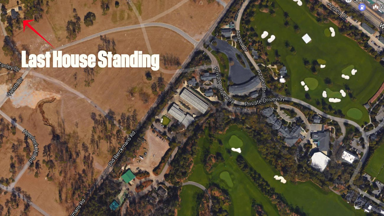 A bird's eye view of the Thacker home and Augusta National Golf Club