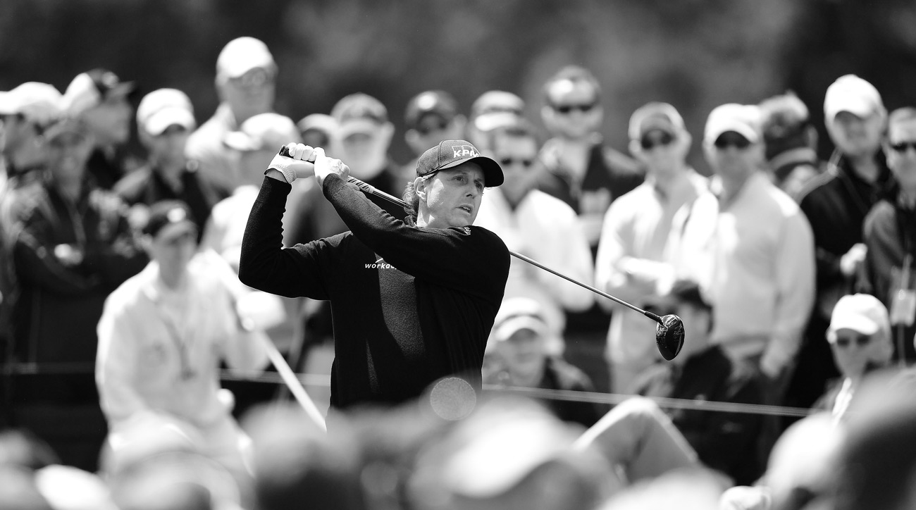 Phil Mickelson tees off on Thursday during the opening round of the 2017 Masters.