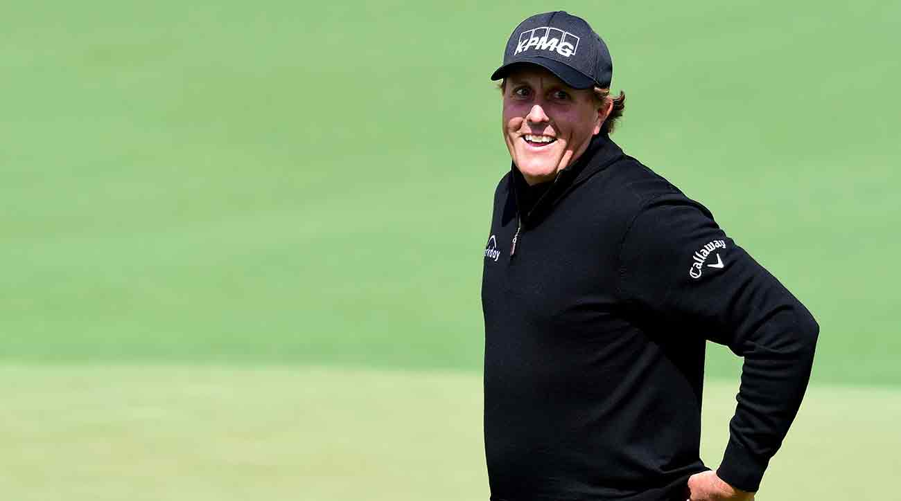 Phil Mickelson was all smiles after an early eagle on Thursday.