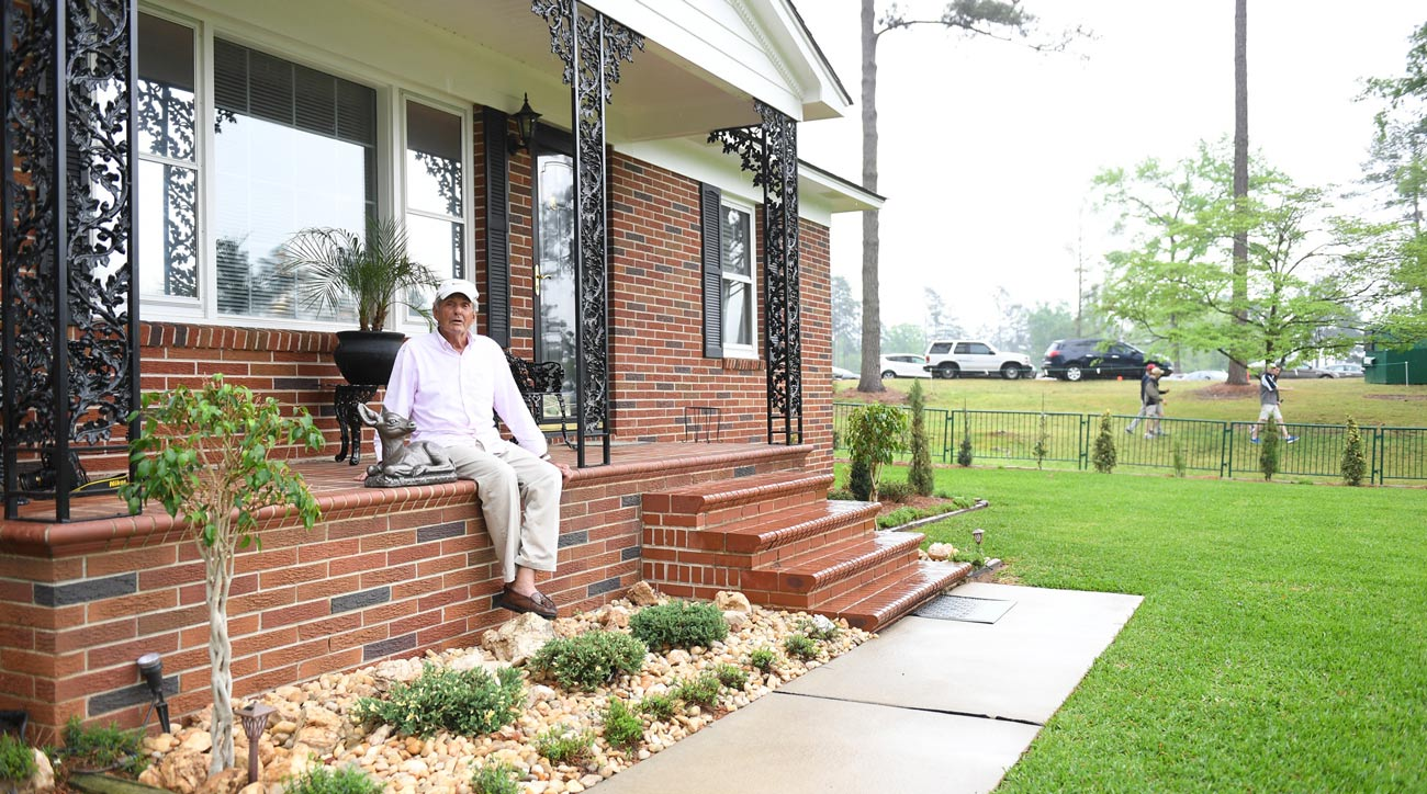 Herman Thacker outside his home near Augusta National Golf Club