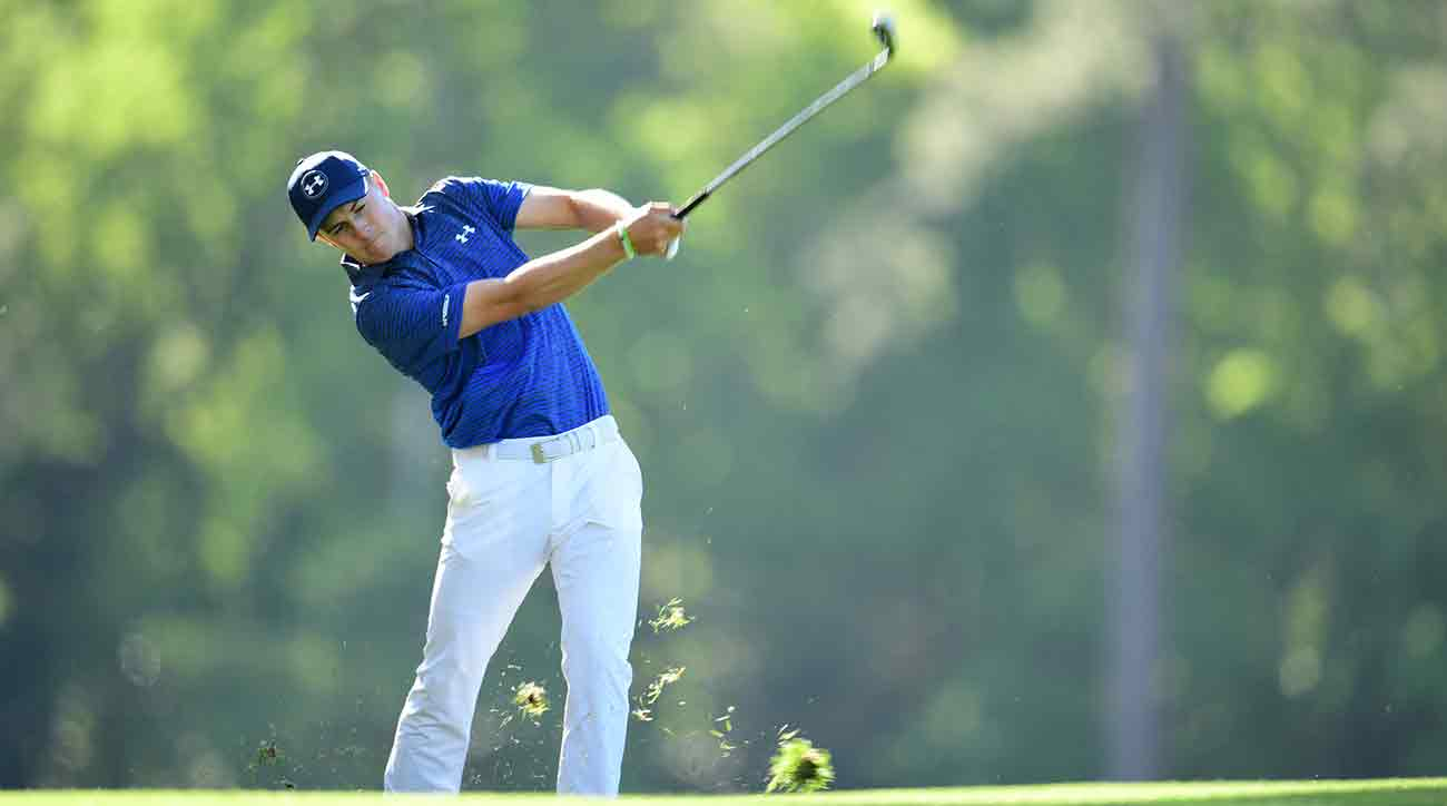 Jordan Spieth takes a big cut during the third round of the Masters on Saturday.
