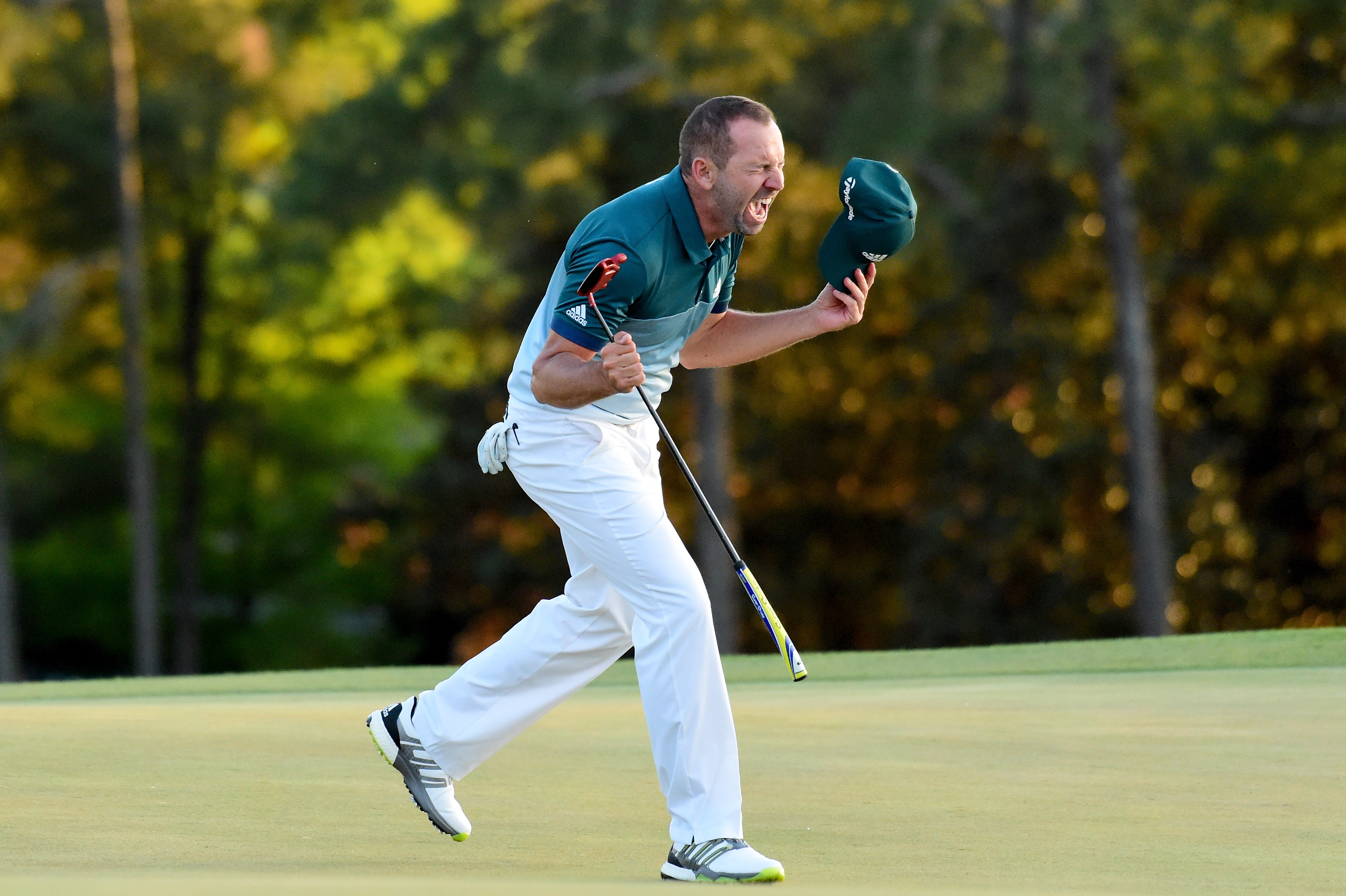 Sergio Garcia celebrates his winning birdie putt on the first playoff hole at the Masters.