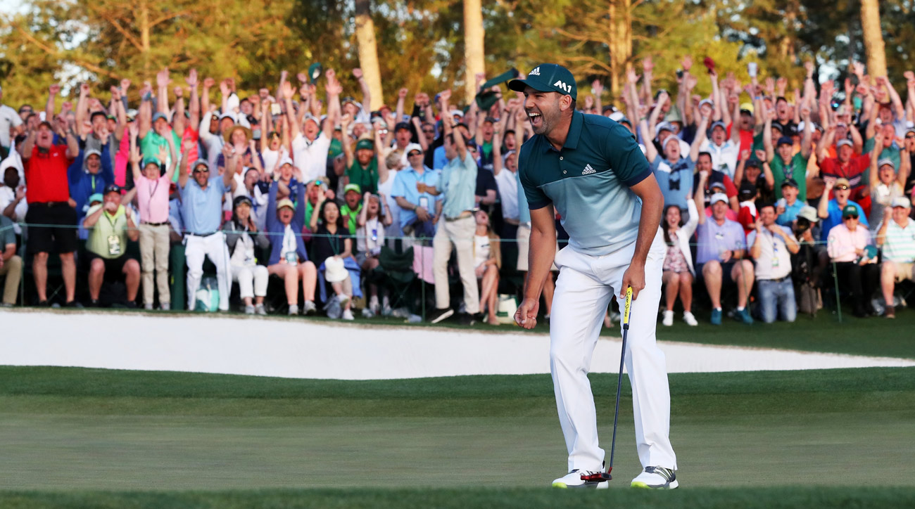 Sergio Garcia reacts after sinking the winning putt at the 2017 Masters.